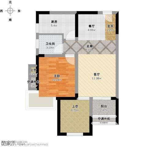 保利心语8期1室1厅1卫1厨78.00㎡户型图