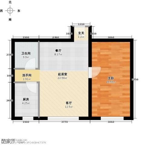 北纬40度1室0厅1卫1厨64.00㎡户型图