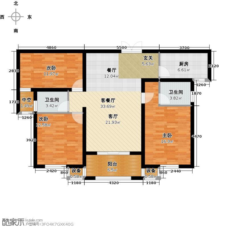欧洲城户型3室1厅2卫1厨