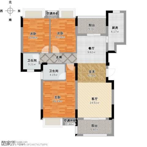 保利心语8期3室1厅2卫1厨140.00㎡户型图