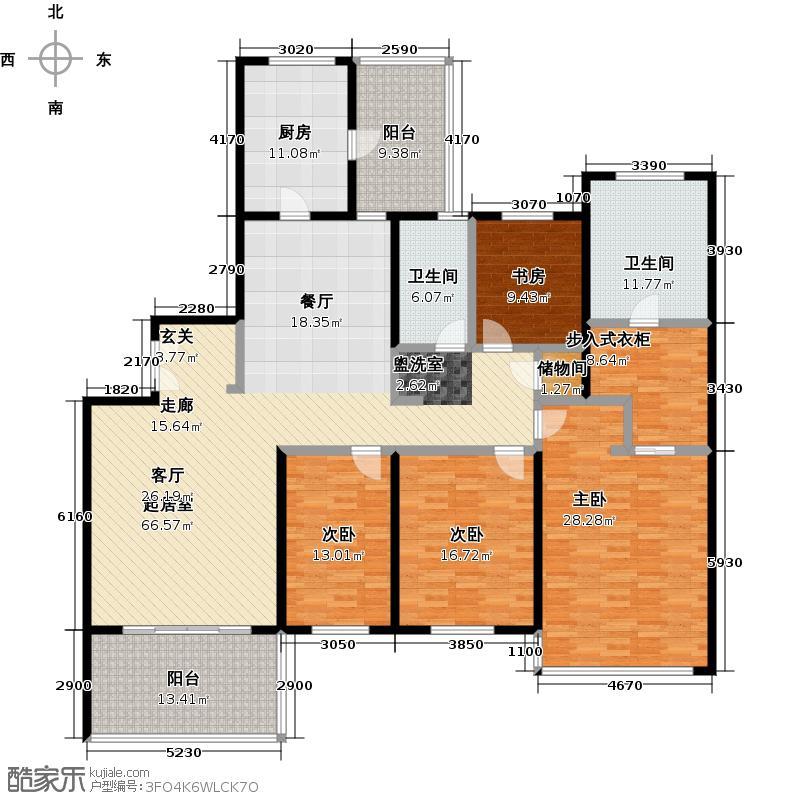 仁恒河滨城二期220.00㎡房型: 四房; 面积段: 220 -230 平方米; 户型