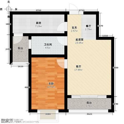滨洲华府1室0厅1卫1厨61.00㎡户型图