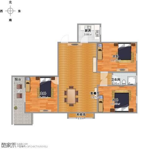 翡翠华府3室1厅1卫1厨76.48㎡户型图
