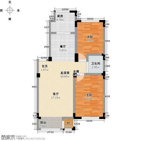 金越逸墅蓝湾2室0厅1卫1厨85.00㎡户型图