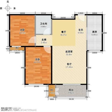 鼎盛新城2室0厅1卫1厨98.00㎡户型图