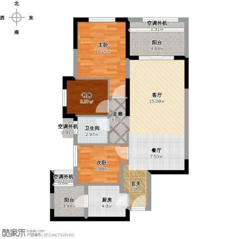 保利心语8期3室1厅1卫1厨101.00㎡户型图