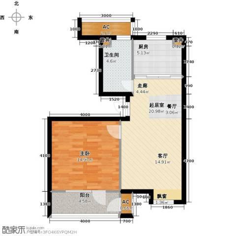 大连天地・悦翠台1室0厅1卫1厨77.00㎡户型图