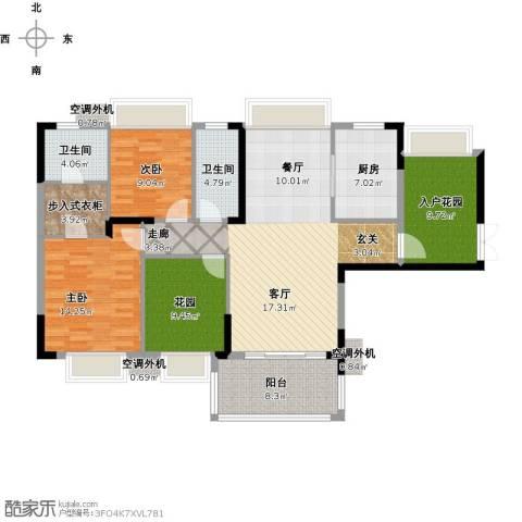 保利心语8期2室1厅2卫1厨147.00㎡户型图