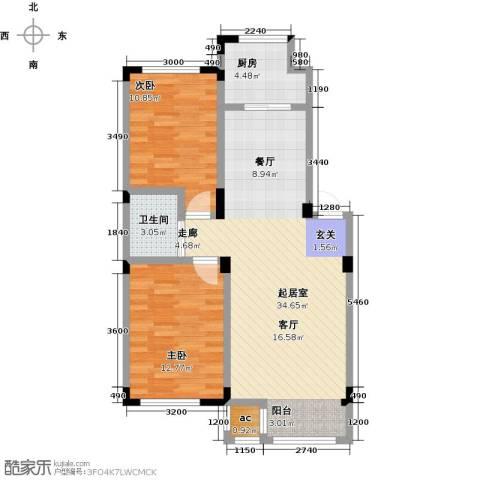 金越逸墅蓝湾2室0厅1卫1厨84.00㎡户型图