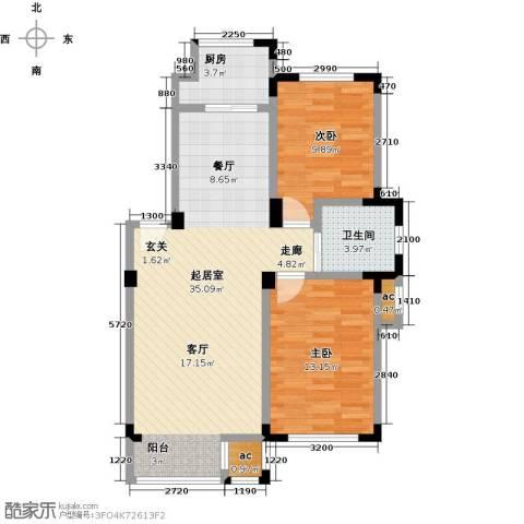 金越逸墅蓝湾2室0厅1卫1厨88.00㎡户型图