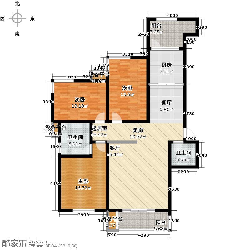 百仕凯旋城140.45㎡D错层三室两厅两卫双阳台户型