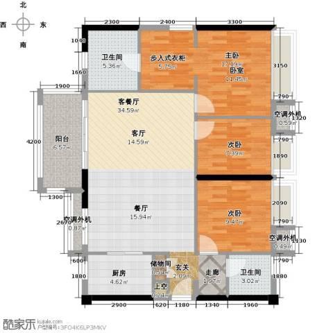 万科金悦华庭3室1厅2卫1厨129.00㎡户型图