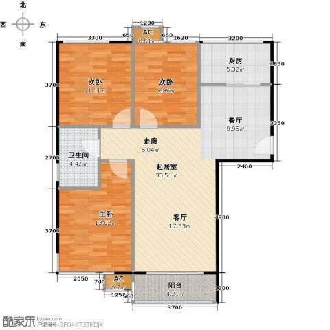鼎盛新城3室0厅1卫1厨112.00㎡户型图