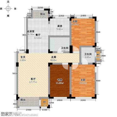 金越逸墅蓝湾3室0厅2卫1厨124.00㎡户型图