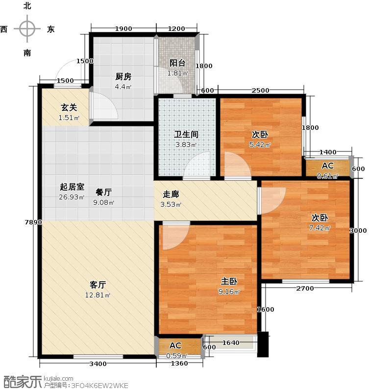 时代悦城时代悦城户型图时代悦城B1户型三室两厅单卫(3/3张)户型3室2厅1卫