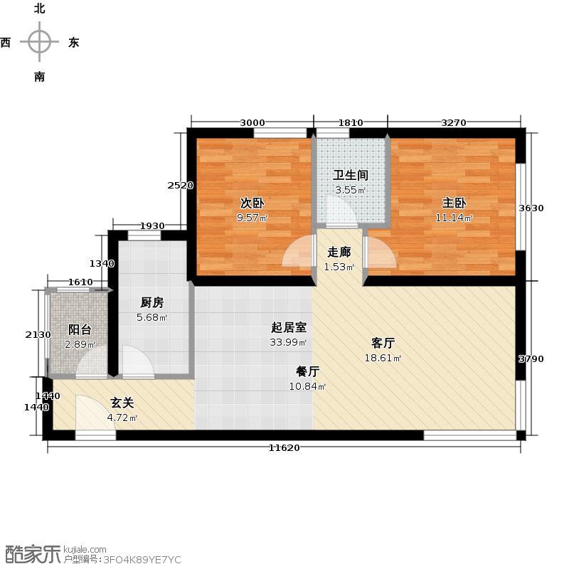 北纬40度景观公寓F1户型二室二厅一卫户型