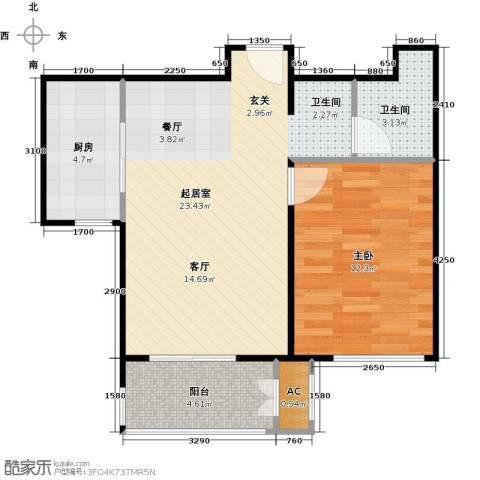 鼎盛新城1室0厅1卫1厨67.00㎡户型图