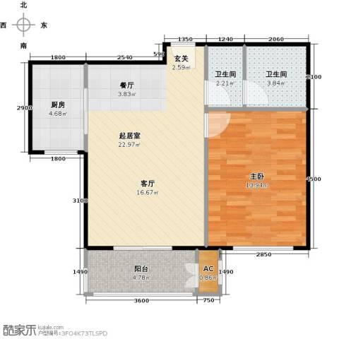 鼎盛新城1室0厅2卫1厨72.00㎡户型图