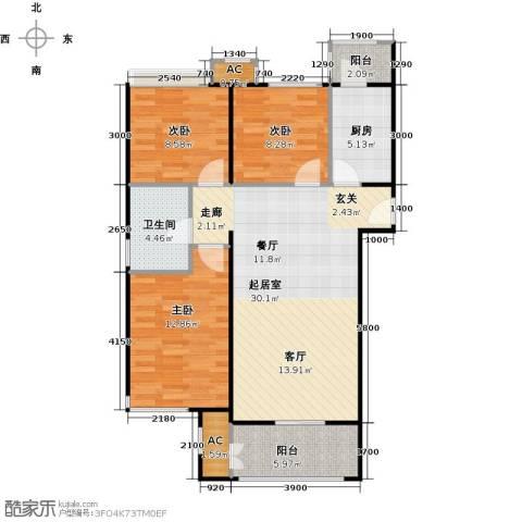 鼎盛新城3室0厅1卫1厨108.00㎡户型图