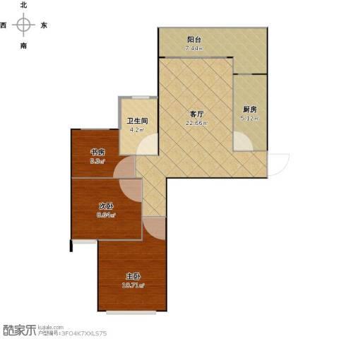 恒大城悦湖蓝湾3室1厅1卫1厨83.00㎡户型图