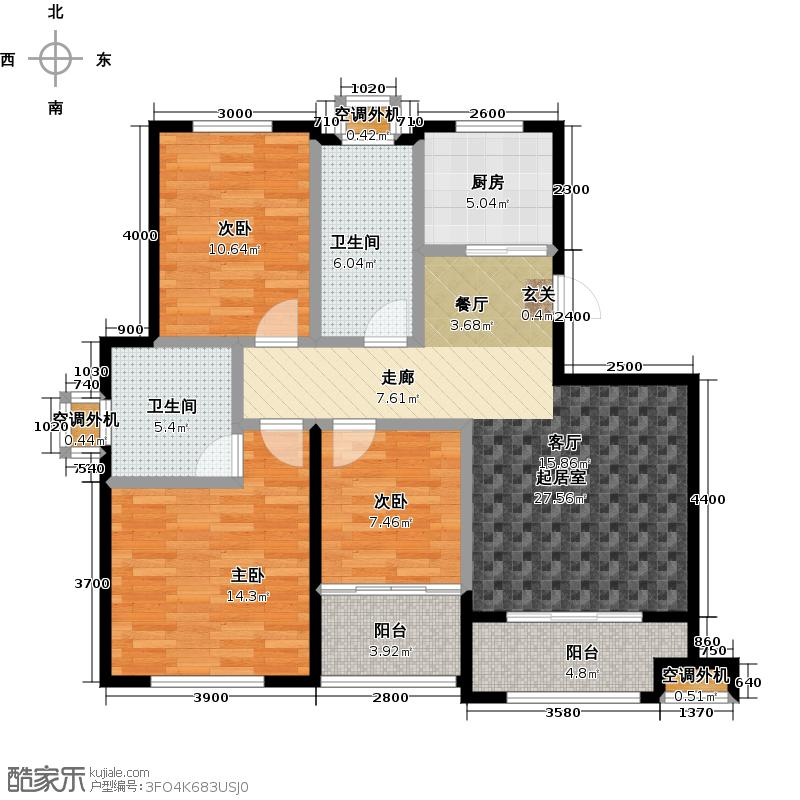 龙泽书苑120.00㎡D-1户型3室2厅2卫