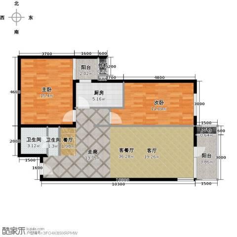 上东三角洲2室1厅1卫1厨106.00㎡户型图