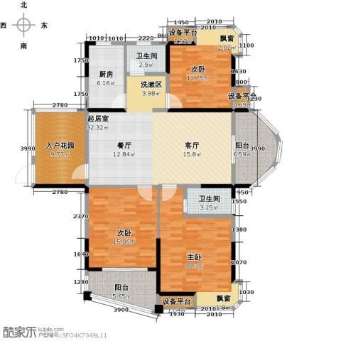 宇业天逸华府3室0厅2卫1厨126.00㎡户型图