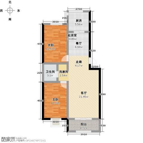 金坤新城花苑2室0厅1卫1厨90.00㎡户型图