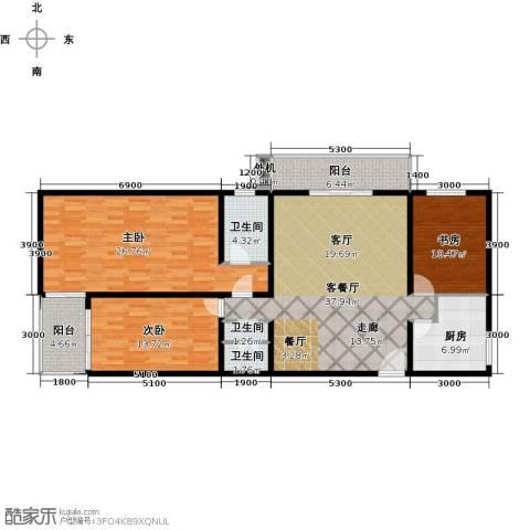 上东三角洲3室1厅2卫1厨153.00㎡户型图