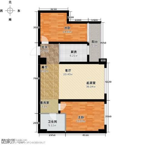 南阳长安玉龙苑2室0厅1卫1厨104.00㎡户型图
