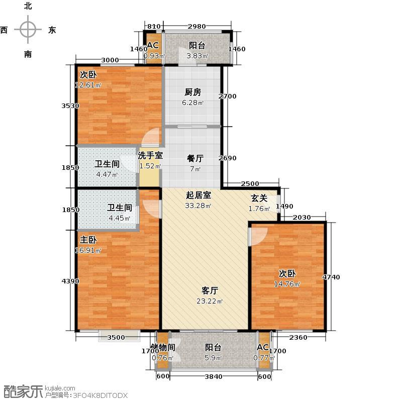 国信浅山J1户型三室二厅二卫户型