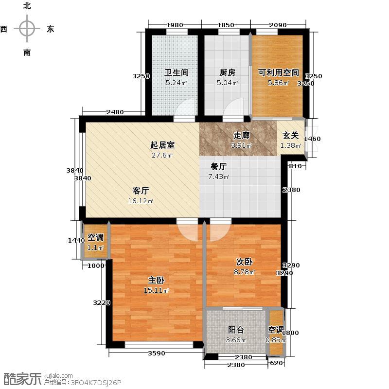 信源亲水湾97.41㎡C1二房二厅一卫,97.41㎡户型2室2厅1卫