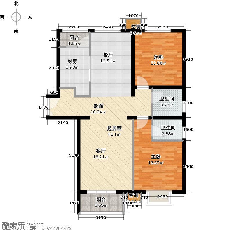 首开知语城b1-1户型二室二厅二卫户型