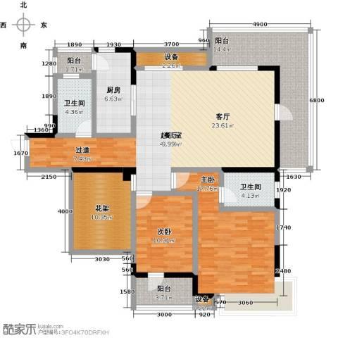盛地沃尔玛广场2室0厅2卫1厨130.00㎡户型图