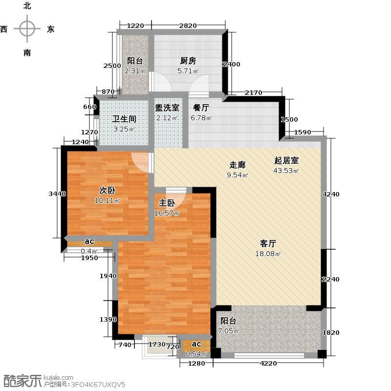 西蜀御景97.30㎡A1户型 2室2厅1卫户型2室2厅1卫