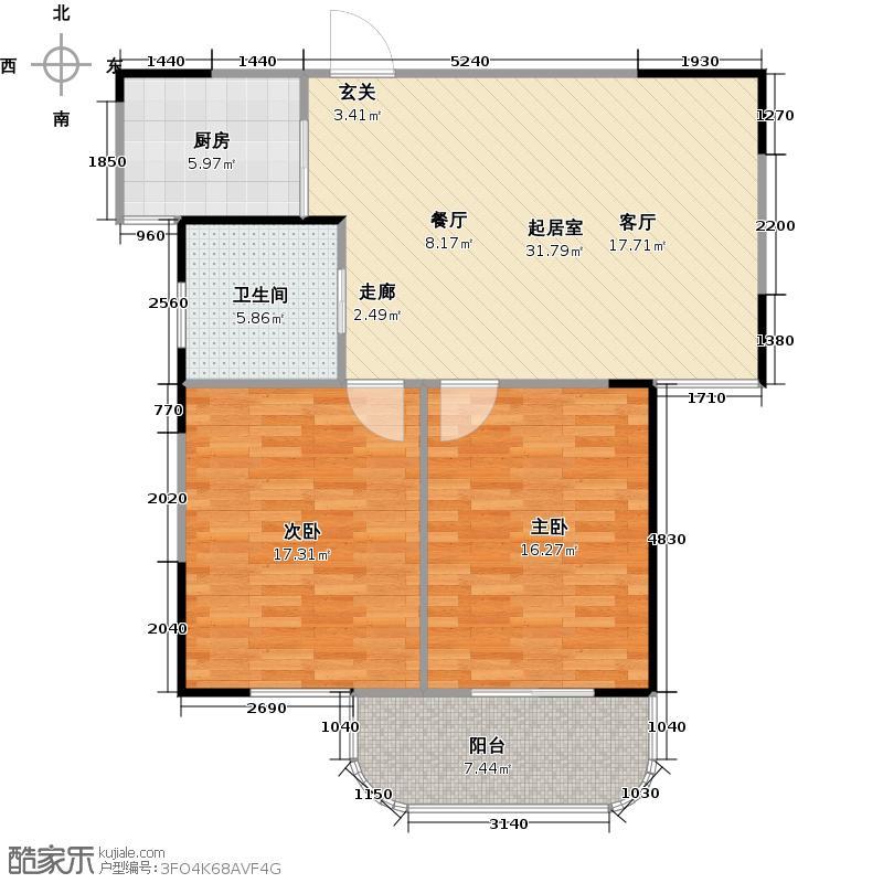中央花园90.00㎡中央花园17#K户型2室2厅1卫