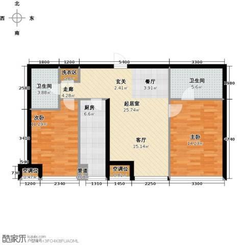 UHN国际村2室0厅2卫1厨99.00㎡户型图