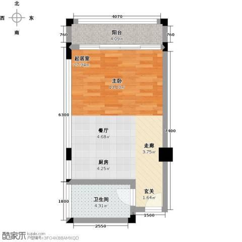 山泉海1卫0厨51.00㎡户型图