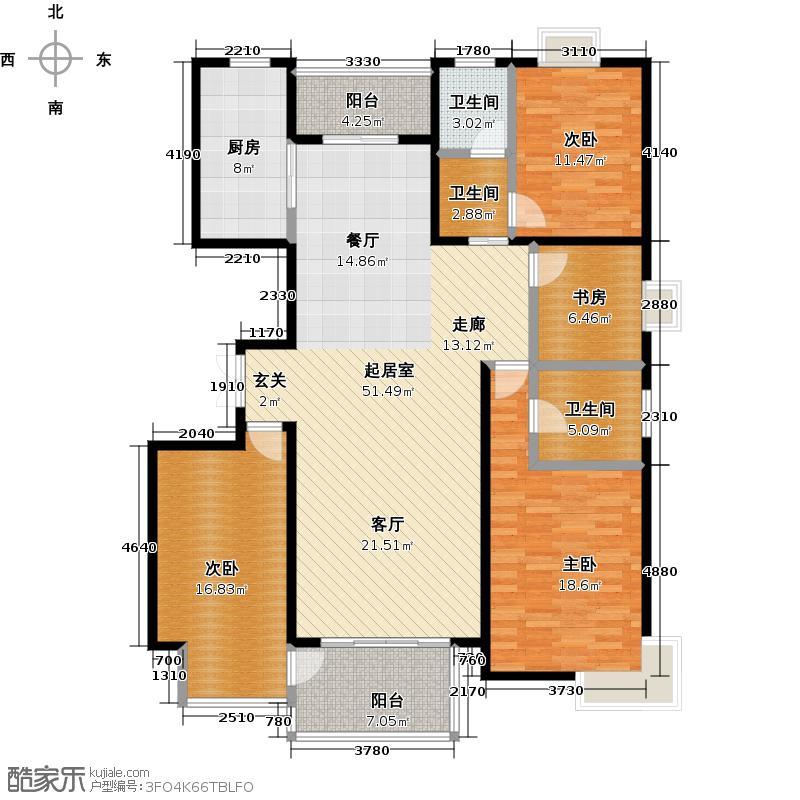 新城府翰苑151.00㎡四房:153.56平米户型