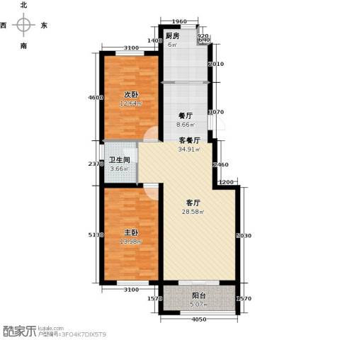 宏业・都市华庭2室1厅1卫1厨108.00㎡户型图