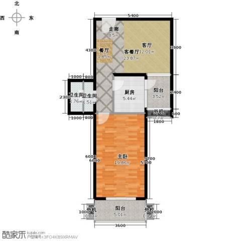 上东三角洲1室1厅1卫1厨77.00㎡户型图
