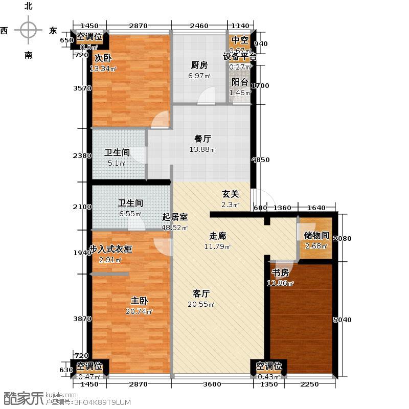 UHN国际村166.90㎡9号楼D户型,3室2厅2卫户型