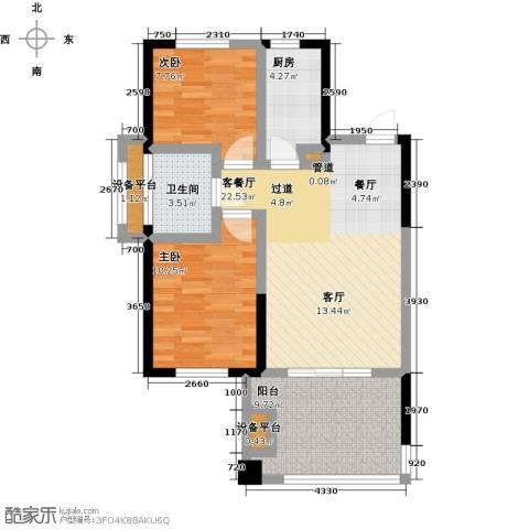 山泉海2室1厅1卫1厨89.00㎡户型图