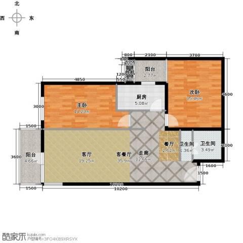 上东三角洲2室1厅1卫1厨107.00㎡户型图