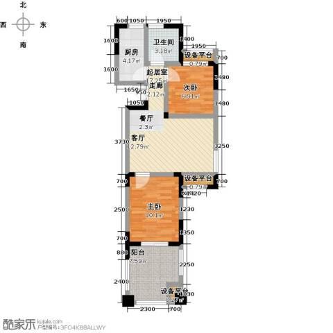 山泉海2室0厅1卫1厨77.00㎡户型图