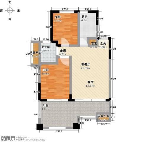 山泉海2室1厅1卫1厨76.00㎡户型图