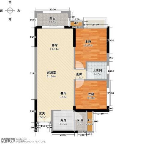 龙汇・领峰2室0厅1卫1厨93.00㎡户型图