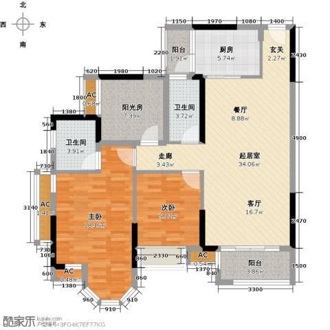龙汇・领峰2室0厅2卫1厨132.00㎡户型图