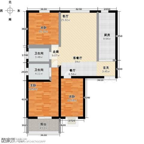 滨河城―左岸3室1厅2卫1厨108.00㎡户型图