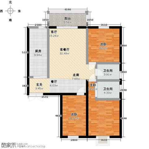 滨河城―左岸3室1厅2卫1厨108.20㎡户型图
